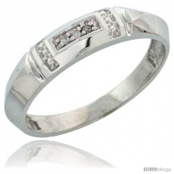 Sterling Silver Ladies' Diamond Wedding Band Rhodium finish, 5/32 in wide -Style Ag022lb