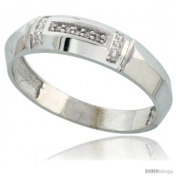 Sterling Silver Men's Diamond Wedding Band Rhodium finish, 7/32 in wide