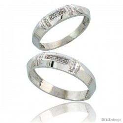 Sterling Silver Diamond 2 Piece Wedding Ring Set His 5.5mm & Hers 4mm Rhodium finish