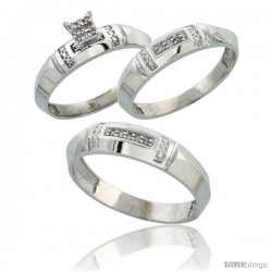 Sterling Silver Diamond Trio Wedding Ring Set His 5.5mm & Hers 4mm Rhodium finish