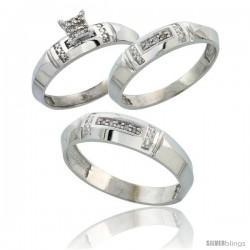 Sterling Silver Diamond Trio Wedding Ring Set His 5.5mm & Hers 4mm Rhodium finish