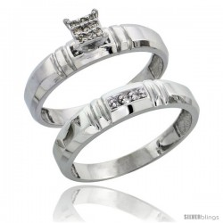 Sterling Silver Ladies' 2-Piece Diamond Engagement Wedding Ring Set Rhodium finish, 5/32 in wide -Style Ag023e2