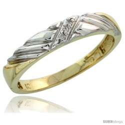 10k Yellow Gold Ladies Diamond Wedding Band Ring 0.02 cttw Brilliant Cut, 1/8 in wide -Style Ljy018lb