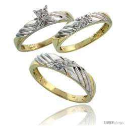 10k Yellow Gold Diamond Trio Engagement Wedding Ring 3-piece Set for Him & Her 5 mm & 3.5 mm wide 0.11 cttw -Style Ljy018w3
