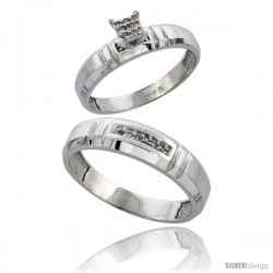 Sterling Silver 2-Piece Diamond wedding Engagement Ring Set for Him & Her Rhodium finish, 4mm & 5.5mm wide -Style Ag023em