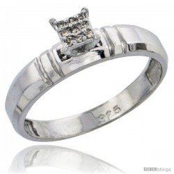 Sterling Silver Diamond Engagement Ring Rhodium finish, 5/32 in wide -Style Ag023er
