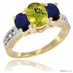 14k Yellow Gold Ladies Oval Natural Lemon Quartz 3-Stone Ring with Blue Sapphire Sides Diamond Accent