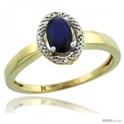 14k Yellow Gold Diamond Halo Quality Blue Sapphire Ring 0.64 Carat Oval Shape 6X4 mm, 3/8 in (9mm) wide