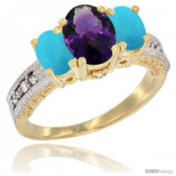 14k Yellow Gold Ladies Oval Natural Amethyst 3-Stone Ring with Turquoise Sides Diamond Accent