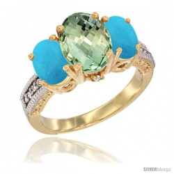 14K Yellow Gold Ladies 3-Stone Oval Natural Green Amethyst Ring with Turquoise Sides Diamond Accent