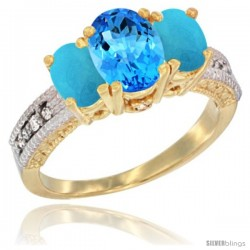 14k Yellow Gold Ladies Oval Natural Swiss Blue Topaz 3-Stone Ring with Turquoise Sides Diamond Accent