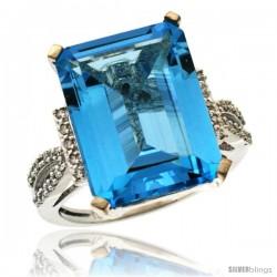 10k White Gold Diamond Swiss Blue Topaz Ring 12 ct Emerald Shape 16x12 Stone 3/4 in wide