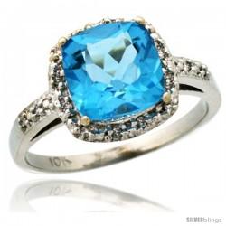 10k White Gold Diamond Swiss Blue Topaz Ring 2.08 ct Cushion cut 8 mm Stone 1/2 in wide