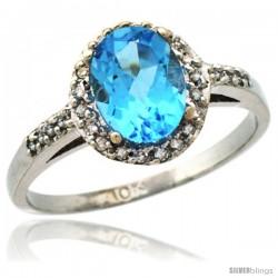 10k White Gold Diamond Swiss Blue Topaz Ring Oval Stone 8x6 mm 1.17 ct 3/8 in wide