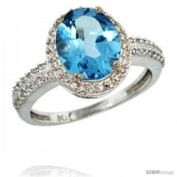 10k White Gold Diamond Swiss Blue Topaz Ring Oval Stone 10x8 mm 2.4 ct 1/2 in wide