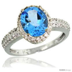 10k White Gold Diamond Swiss Blue Topaz Ring Oval Stone 9x7 mm 1.76 ct 1/2 in wide