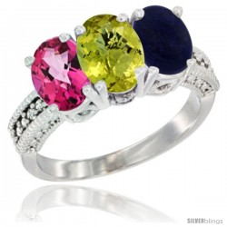14K White Gold Natural Pink Topaz, Lemon Quartz & Lapis Ring 3-Stone 7x5 mm Oval Diamond Accent