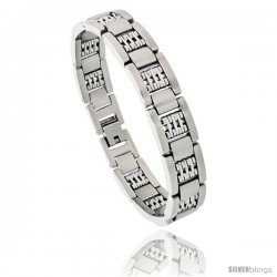 Stainless Steel Satin Finish Men's Bar Bracelet, 1/2 in wide, 8 in long