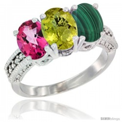 14K White Gold Natural Pink Topaz, Lemon Quartz & Malachite Ring 3-Stone 7x5 mm Oval Diamond Accent