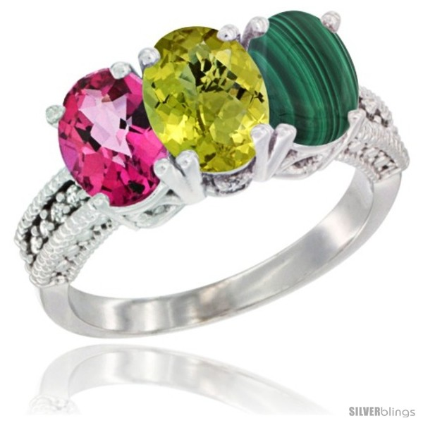 https://www.silverblings.com/57001-thickbox_default/14k-white-gold-natural-pink-topaz-lemon-quartz-malachite-ring-3-stone-7x5-mm-oval-diamond-accent.jpg
