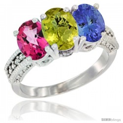14K White Gold Natural Pink Topaz, Lemon Quartz & Tanzanite Ring 3-Stone 7x5 mm Oval Diamond Accent