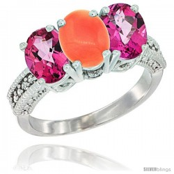14K White Gold Natural Coral & Pink Topaz Ring 3-Stone 7x5 mm Oval Diamond Accent