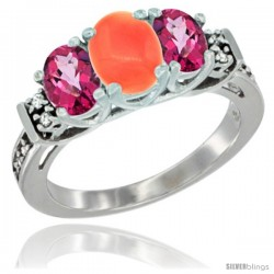 14K White Gold Natural Coral & Pink Topaz Ring 3-Stone Oval with Diamond Accent