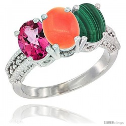 14K White Gold Natural Pink Topaz, Coral & Malachite Ring 3-Stone 7x5 mm Oval Diamond Accent