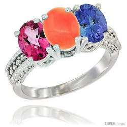 14K White Gold Natural Pink Topaz, Coral & Tanzanite Ring 3-Stone 7x5 mm Oval Diamond Accent