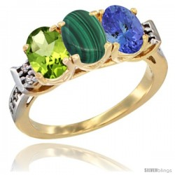 10K Yellow Gold Natural Peridot, Malachite & Tanzanite Ring 3-Stone Oval 7x5 mm Diamond Accent