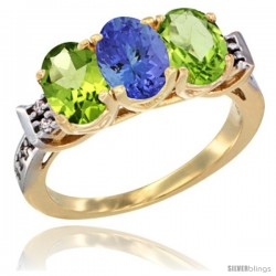 10K Yellow Gold Natural Tanzanite & Peridot Sides Ring 3-Stone Oval 7x5 mm Diamond Accent