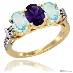 10K Yellow Gold Natural Amethyst & Aquamarine Sides Ring 3-Stone Oval 7x5 mm Diamond Accent