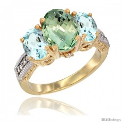 10K Yellow Gold Ladies 3-Stone Oval Natural Green Amethyst Ring with Aquamarine Sides Diamond Accent