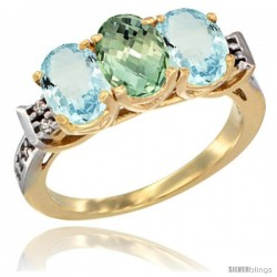 10K Yellow Gold Natural Green Amethyst & Aquamarine Sides Ring 3-Stone Oval 7x5 mm Diamond Accent