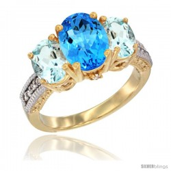 10K Yellow Gold Ladies 3-Stone Oval Natural Swiss Blue Topaz Ring with Aquamarine Sides Diamond Accent