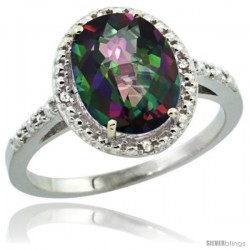 Sterling Silver Diamond Mystic Topaz Ring 2.4 ct Oval Stone 10x8 mm, 1/2 in wide -Style Cwg08111