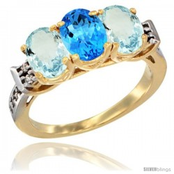 10K Yellow Gold Natural Swiss Blue Topaz & Aquamarine Sides Ring 3-Stone Oval 7x5 mm Diamond Accent