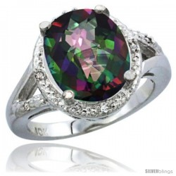 10K White Gold Natural Mystic Topaz Ring Oval 12x10 Stone Diamond Accent