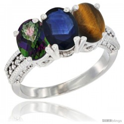 10K White Gold Natural Mystic Topaz, Blue Sapphire & Tiger Eye Ring 3-Stone Oval 7x5 mm Diamond Accent