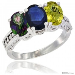 10K White Gold Natural Mystic Topaz, Blue Sapphire & Lemon Quartz Ring 3-Stone Oval 7x5 mm Diamond Accent