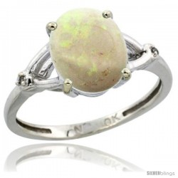 14k White Gold Diamond Opal Ring 2.4 ct Oval Stone 10x8 mm, 3/8 in wide