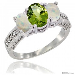 14k White Gold Ladies Oval Natural Peridot 3-Stone Ring with Opal Sides Diamond Accent