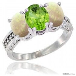 14K White Gold Natural Peridot & Opal Sides Ring 3-Stone 7x5 mm Oval Diamond Accent