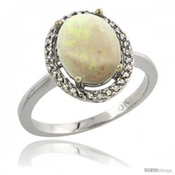14k White Gold Diamond Opal Ring 2.4 ct Oval Stone 10x8 mm, 1/2 in wide -Style Cw420114