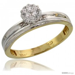 10k Yellow Gold Diamond Engagement Ring 0.06 cttw Brilliant Cut, 1/8in. 3.5mm wide -Style Ljy019er