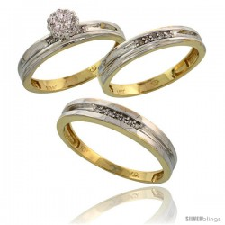 10k Yellow Gold Diamond Trio Engagement Wedding Ring 3-piece Set for Him & Her 4 mm & 3.5 mm wide 0.13 cttw -Style Ljy019w3