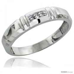 Sterling Silver Ladies' Diamond Wedding Band Rhodium finish, 5/32 in wide -Style Ag023lb
