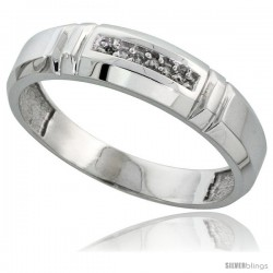Sterling Silver Men's Diamond Wedding Band Rhodium finish, 7/32 in wide -Style Ag023mb