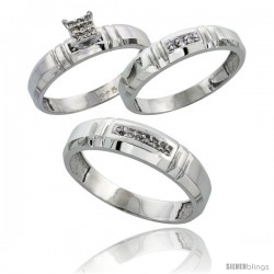 Sterling Silver Diamond Trio Wedding Ring Set His 5.5mm & Hers 4mm Rhodium finish -Style Ag023w3