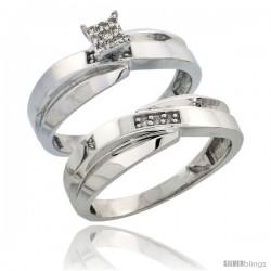 Sterling Silver Ladies' 2-Piece Diamond Engagement Wedding Ring Set Rhodium finish, 1/4 in wide